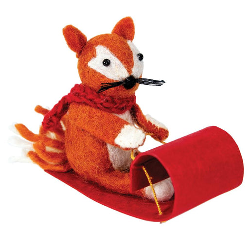 Sledding Fox Ornament