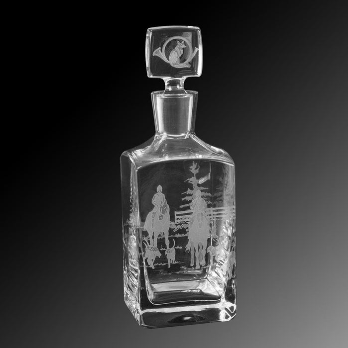 Foxhunt Etched Square Crystal Decanter