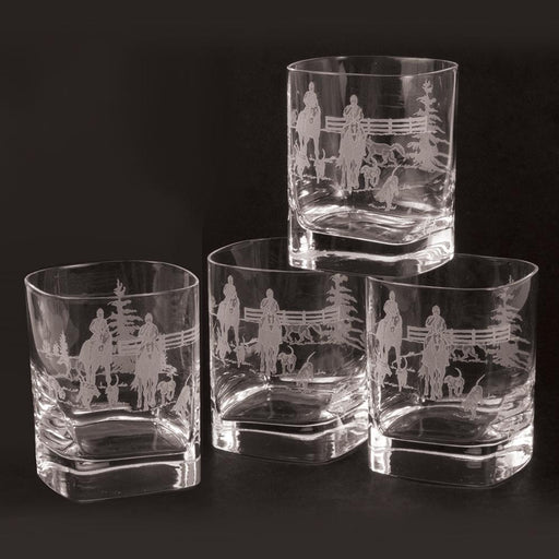 Foxhunt Etched Square Crystal Rock Glasses - Set of 4