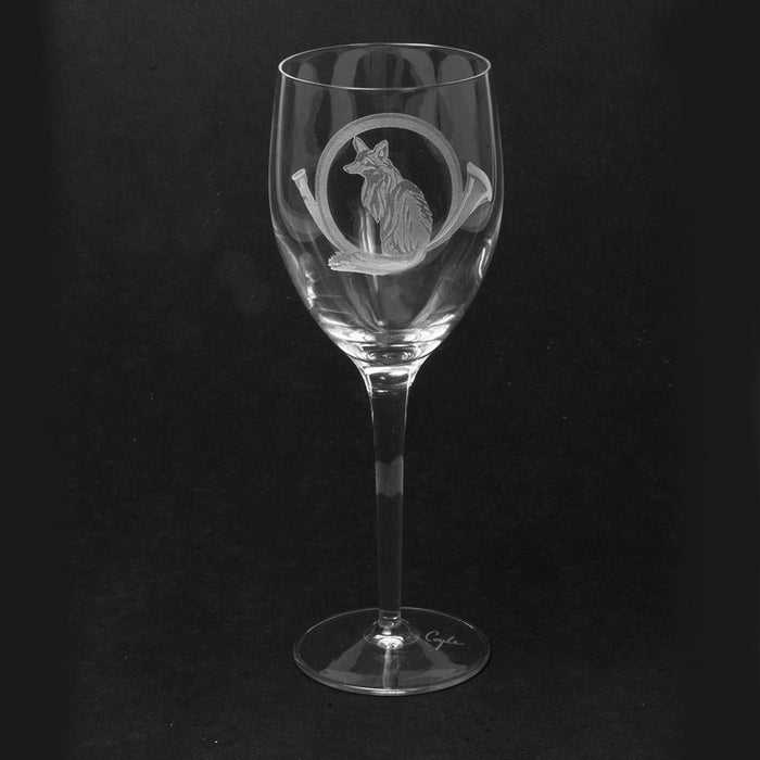 Fox & Horn Etched Crystal White Wine Glasses - Set of 4