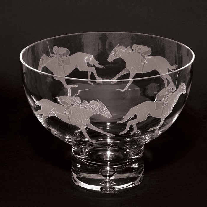 Racehorse Etched Crystal Pedestal Bowl