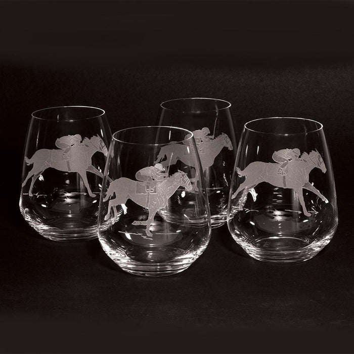 Racehorse Etched Crystal Stemless Wine Glasses - Set of 4