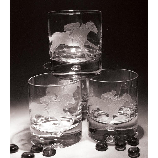 Racehorse Etched Crystal Rock Glasses - Set of 4