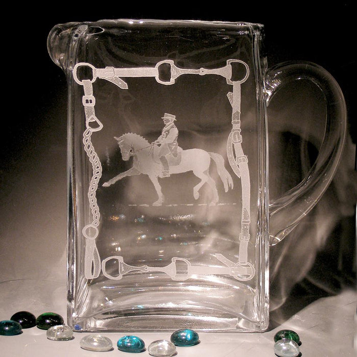 Equestrian Dressage Etched Crystal Pitcher