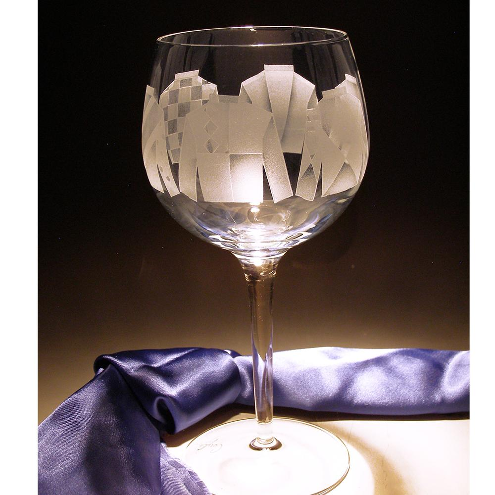Jockey Silks Etched Crystal Red Wine Glasses - Set of 4