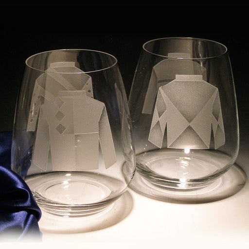 Jockey Silks Etched Crytstal Stemless Wine Glasses - Set of 4
