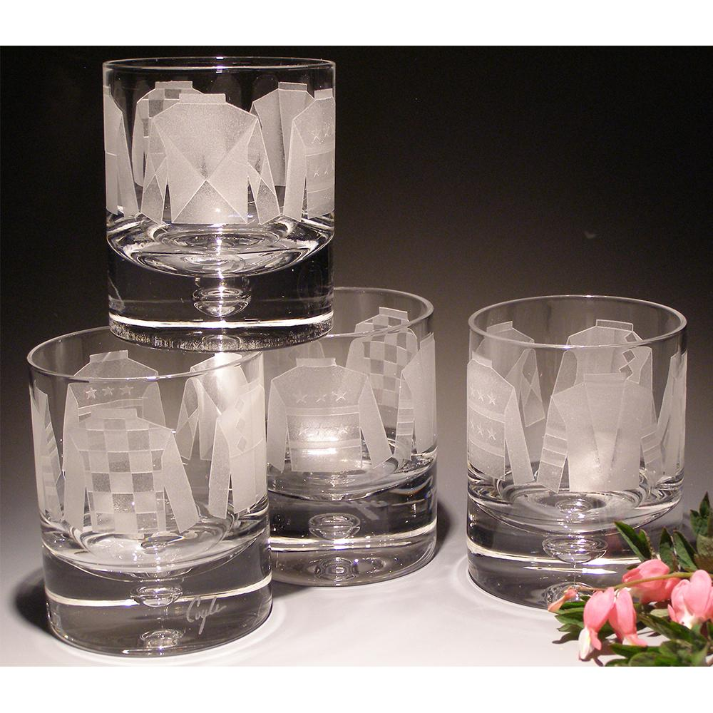 Jockey Silks Etched Crystal Rock Glasses - Set of 4