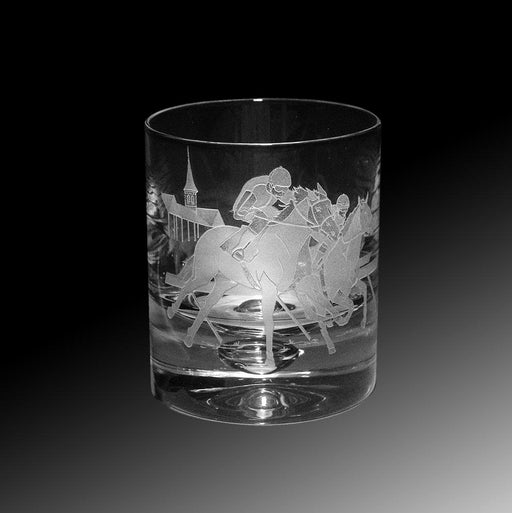 Clubhouse Turn Etched Crystal Rock Glasses - Set of 4