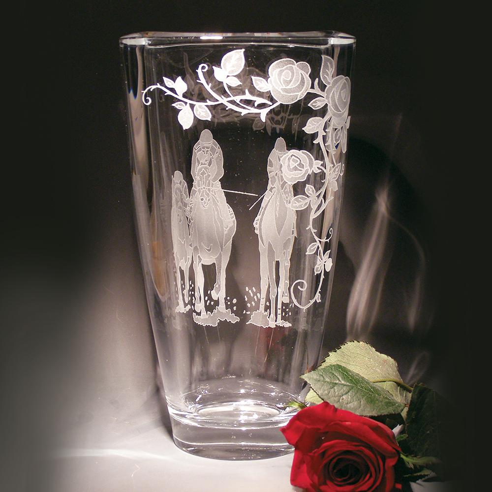Run for the Roses Etched Crystal Vase