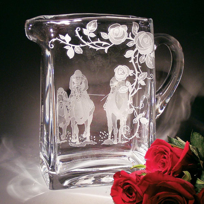 Run for the Roses Etched Crystal Pitcher
