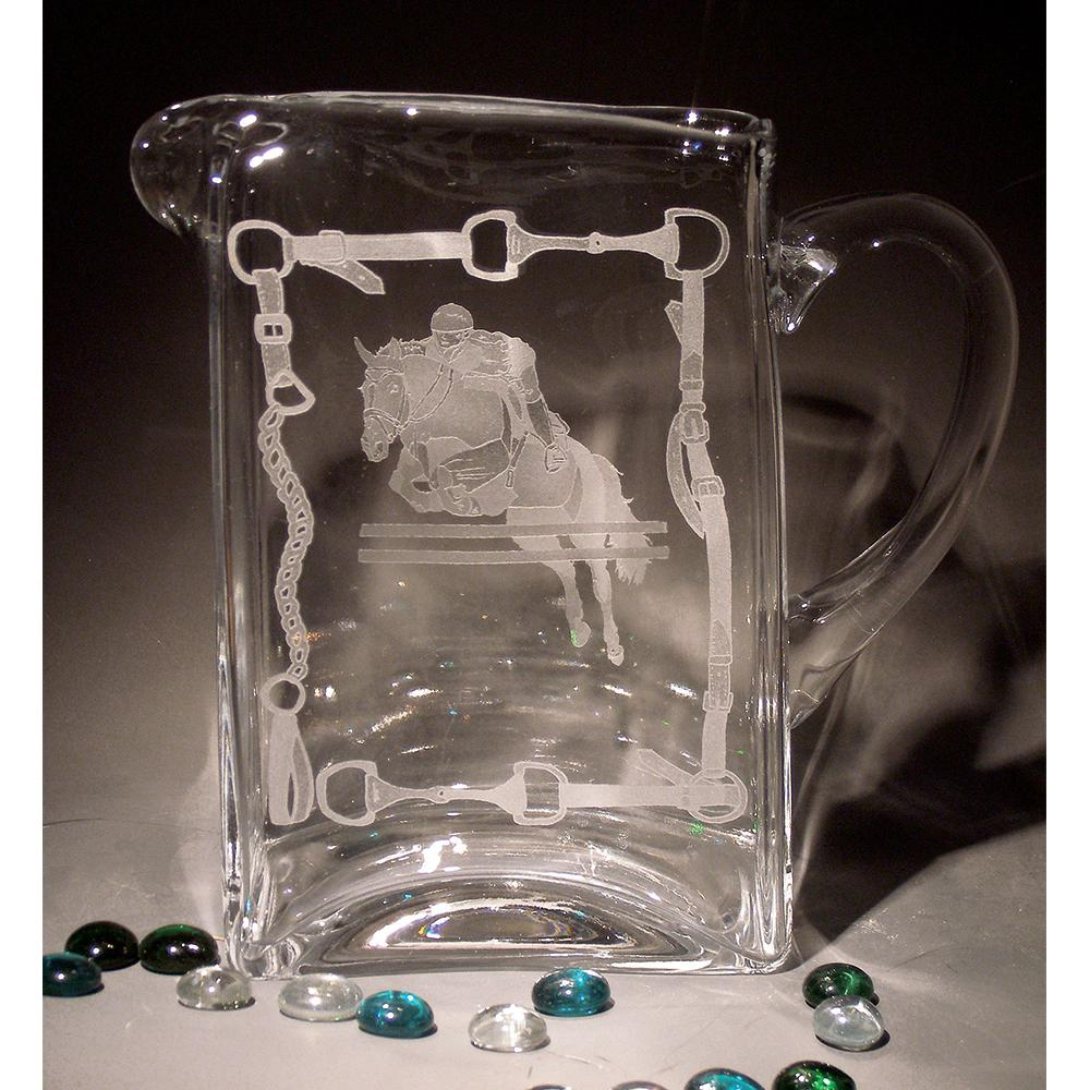 Equestrian Jumper Etched Crystal Pitcher