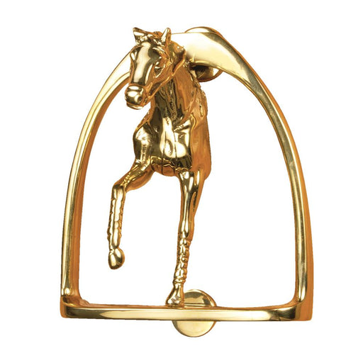 Horse in Stirrup Door Knocker - Brass
