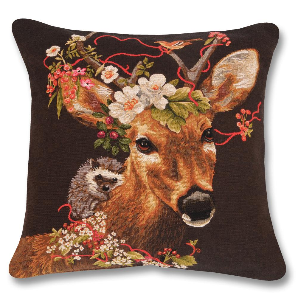 Woodland Fantasy Buck Tapestry Pillow