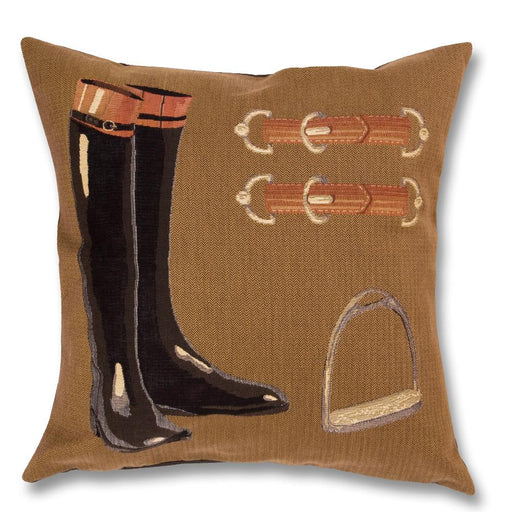 Riding Boots Equestrian Tapesty Pillow