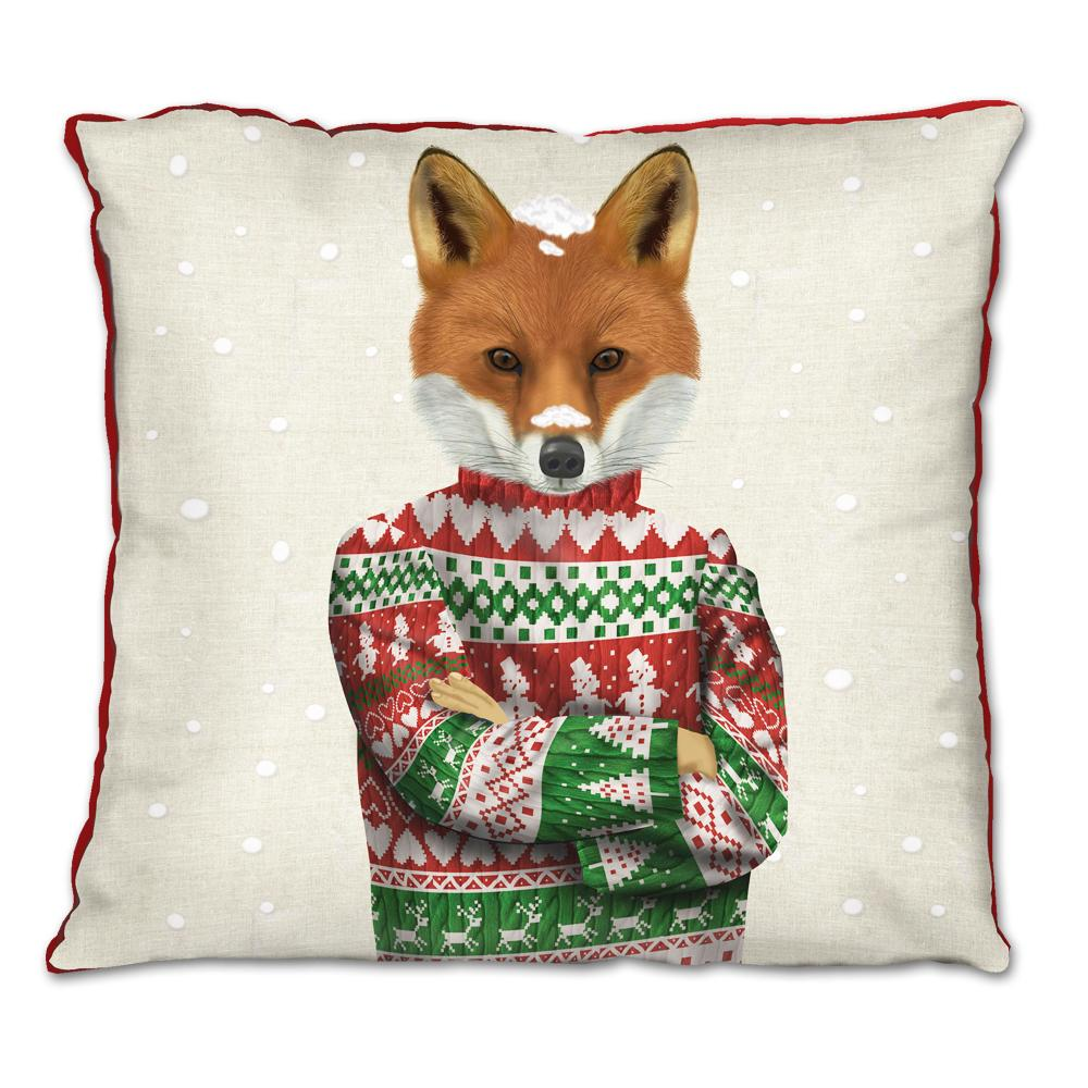 Christmas Sweater Fox Pillow