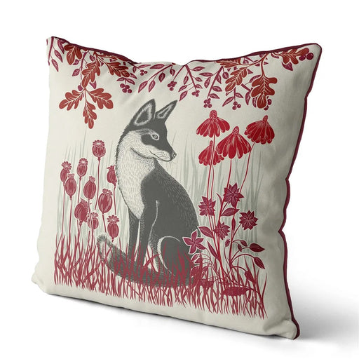 "Country Lane Fox Pillow Sitting - Ruby Red 24"" x 24"""