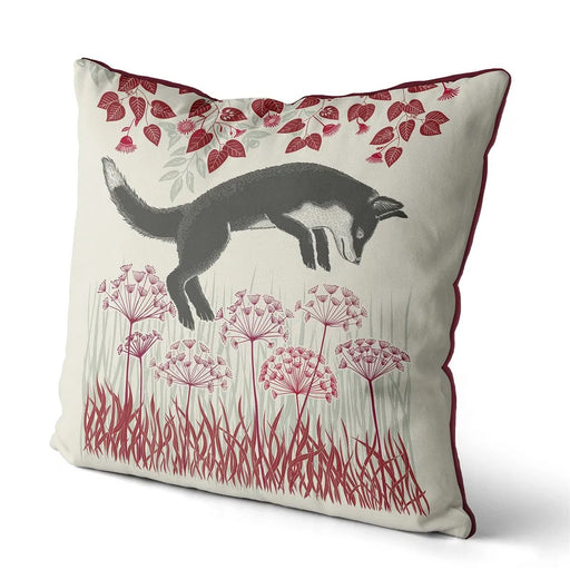 "Country Lane Fox Pillow Leaping - Ruby Red 18""x18"""
