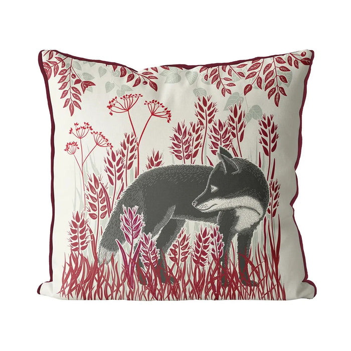 "Country Lane Fox Pillow Standing - Ruby Red 24"" x 24"""