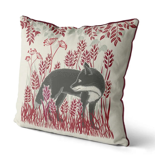 "Country Lane Fox Pillow Standing - Ruby Red 18""x18"""