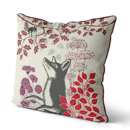 "Country Lane Fox Pillow Visiting - Ruby Red 18""x18"""