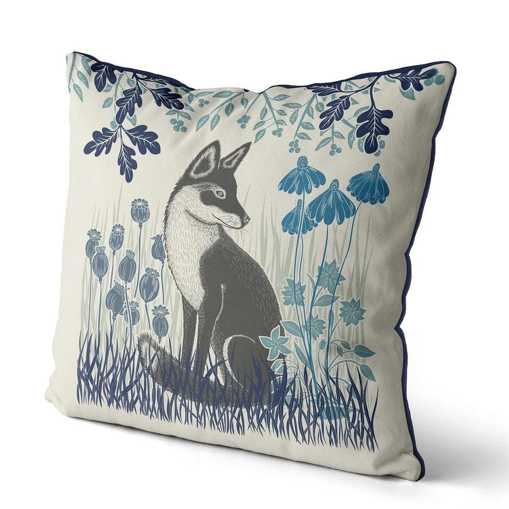 "Country Lane Fox Pillow Sitting - Heather Blue 24"" x 24"""