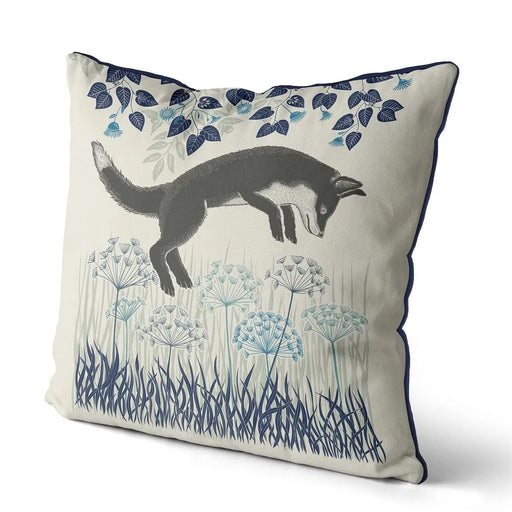 "Country Lane Fox Pillow Leaping - Heather Blue 18""x18"""