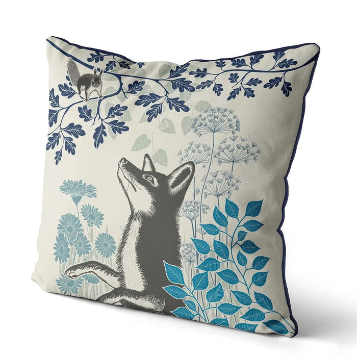 "Country Lane Fox Pillow Visiting - Heather Blue 18""x18"""