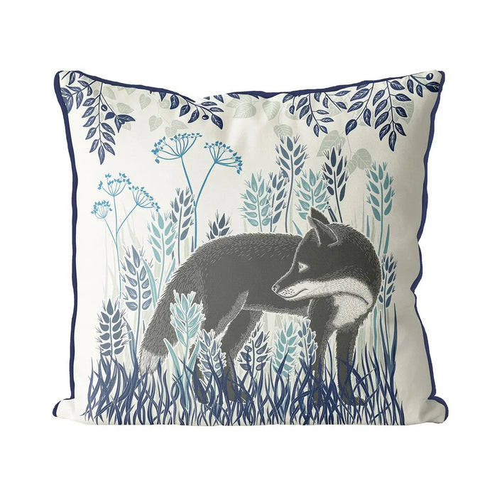 "Country Lane Fox Pillow Standing - Heather Blue 24"" x 24"""