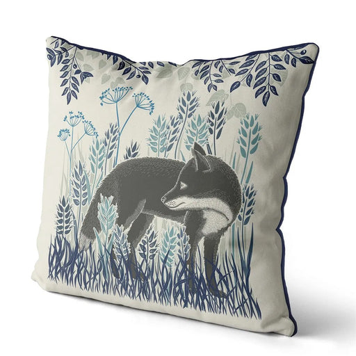 "Country Lane Fox Pillow Standing - Heather Blue 18""x18"""