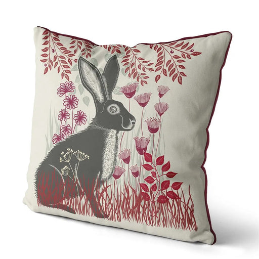 "Country Lane Hare Pillow Sitting - Ruby Red 18""x18"""