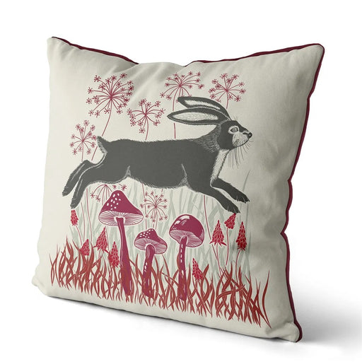 "Country Lane Hare Pillow Leaping - Ruby Red 18""x18"""