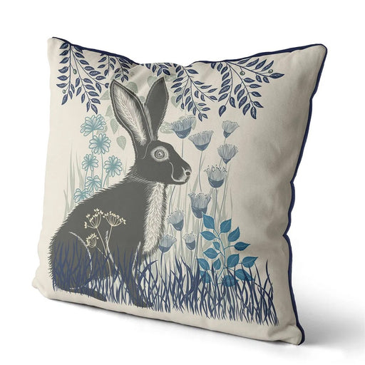 "Country Lane Hare Pillow Sitting - Heather Blue 18""x18"""