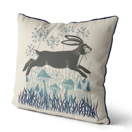 "Country Lane Hare Pillow Leaping - Heather Blue 18""x18"""