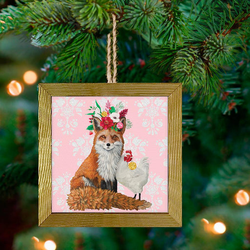Fox & Hen Framed Holiday Ornament