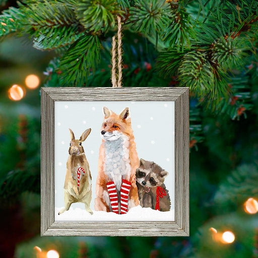 Fox & Woodland Friends Framed Holiday Ornament