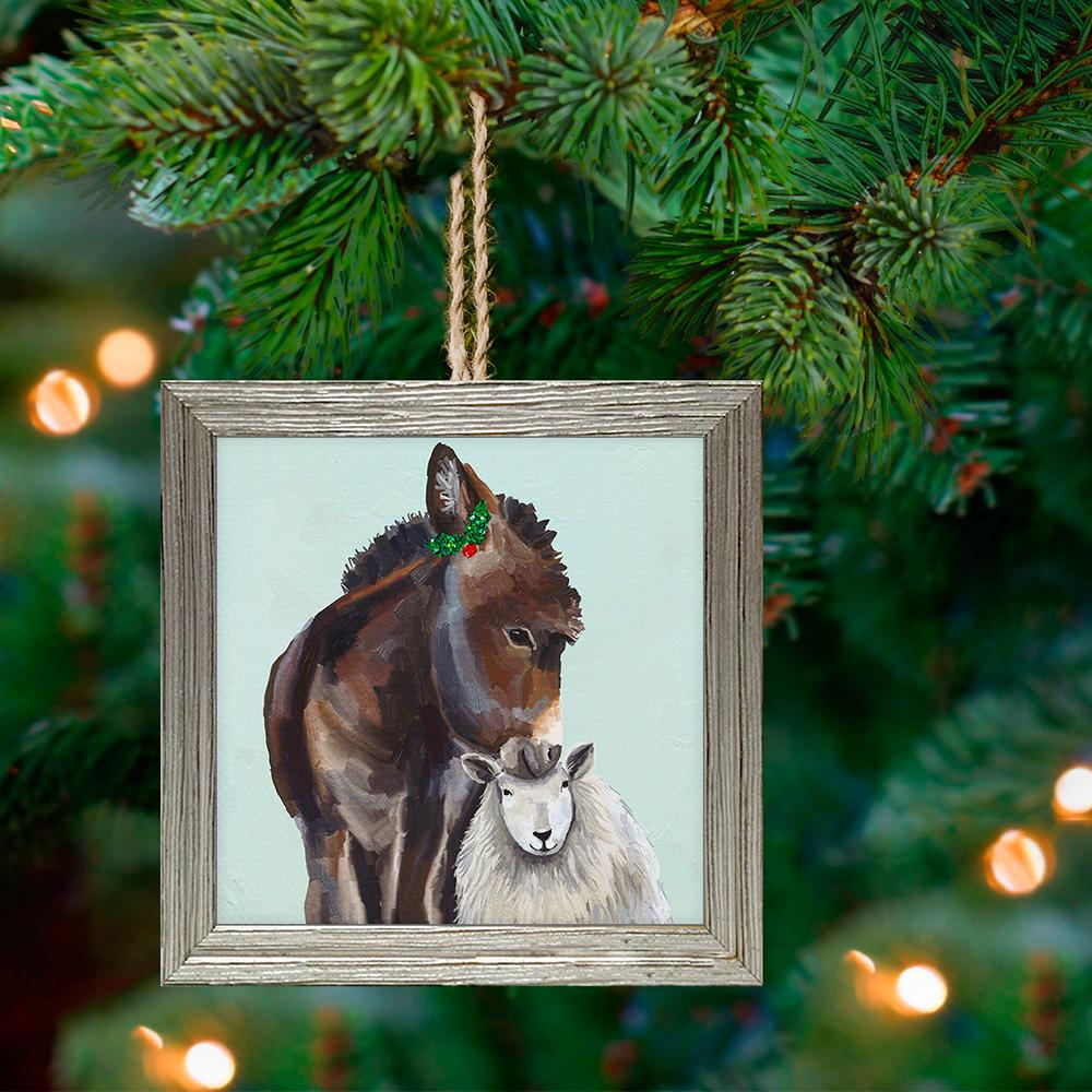 Donkey & Sheep Framed Holiday Ornament