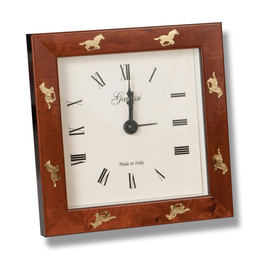 Galloping Horses Chestnut Burl Desk Clock