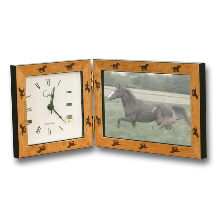 Galloping Horses Clock and Photo Frame - Cashmere Burl