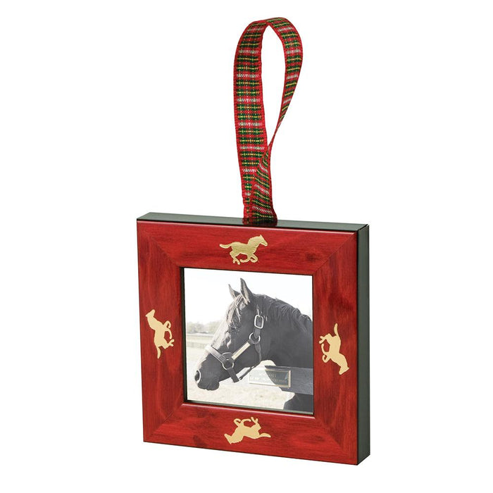 Galloping Horses Mini Frame Ornament - Red Burl
