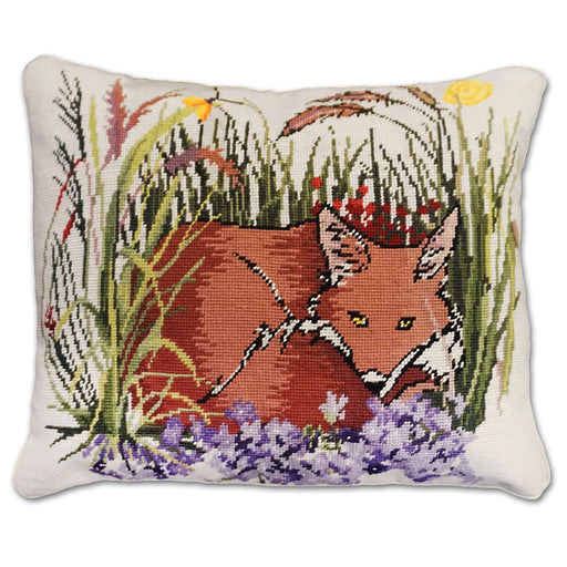 Garden Fox Needlepoint Pillow