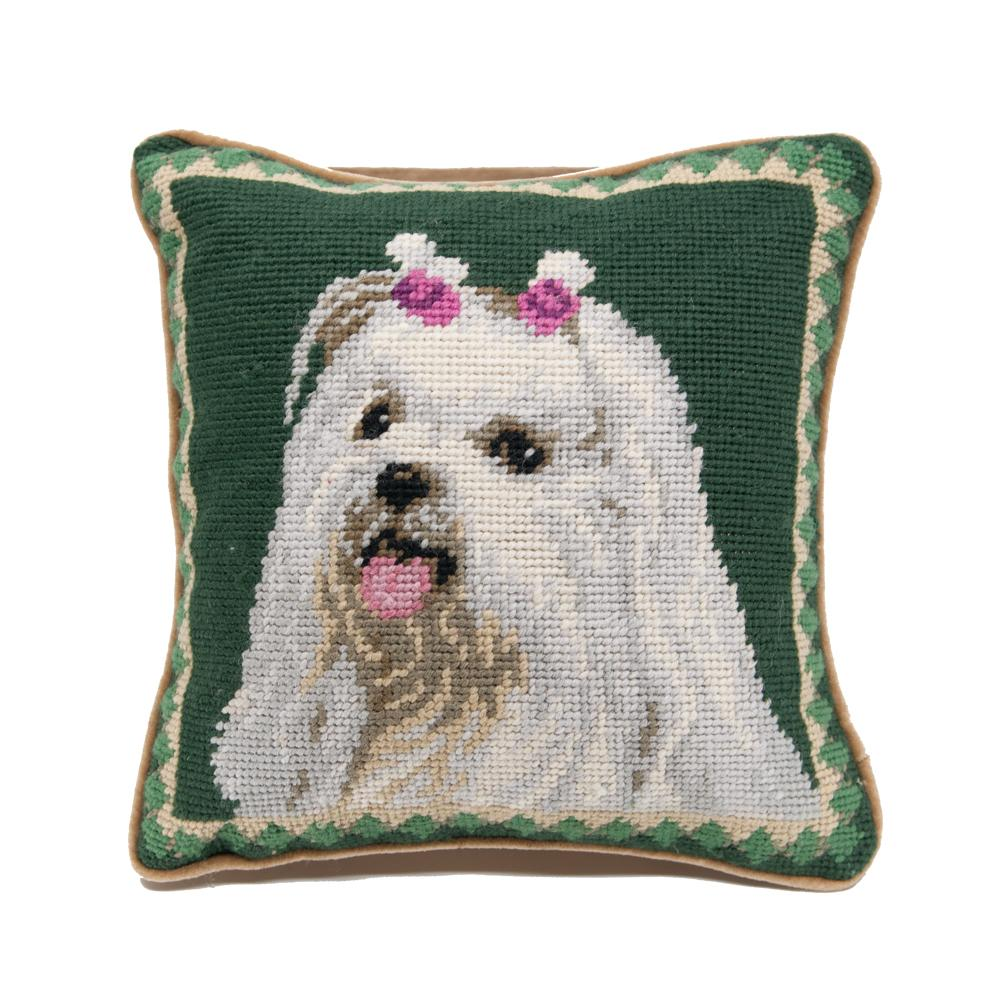 Maltese Needlepoint Dog Pillow