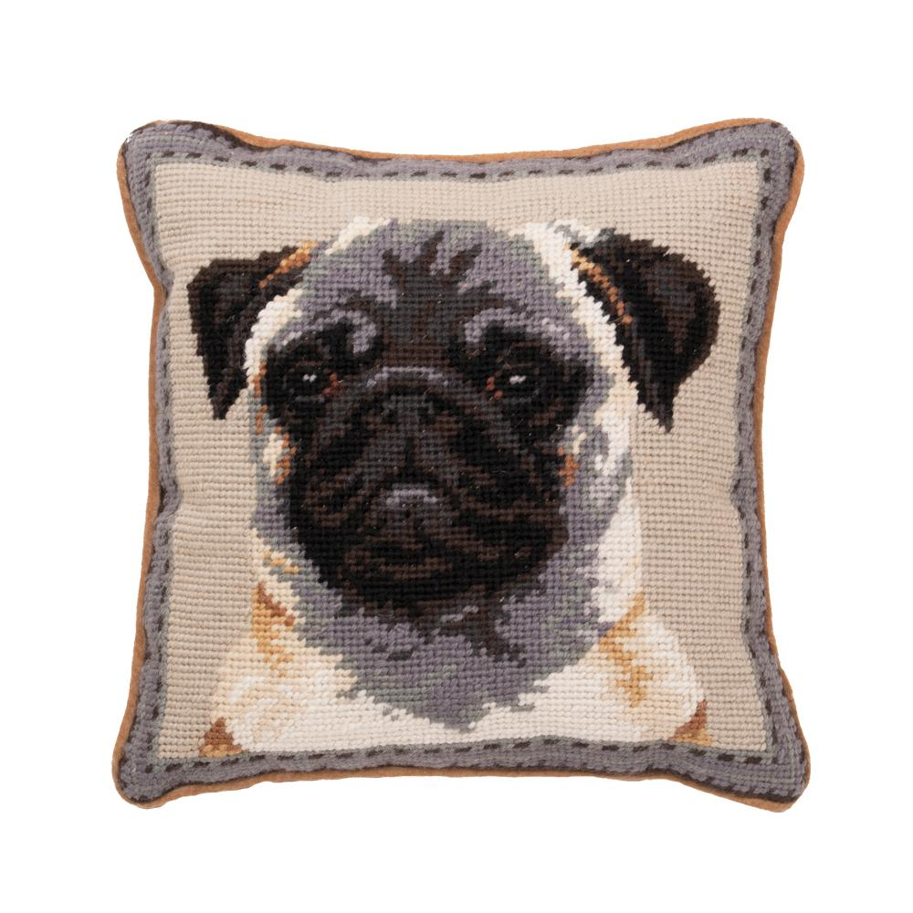 Fawn Pug Needlepoint Dog Pillow