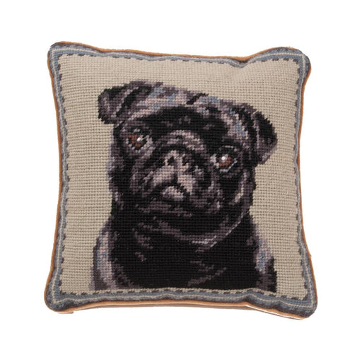 Black Pug Needlepoint Dog Pillow