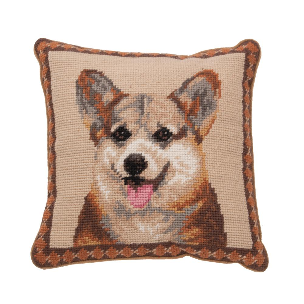 Welsh Corgi Needlepoint Dog Pillow