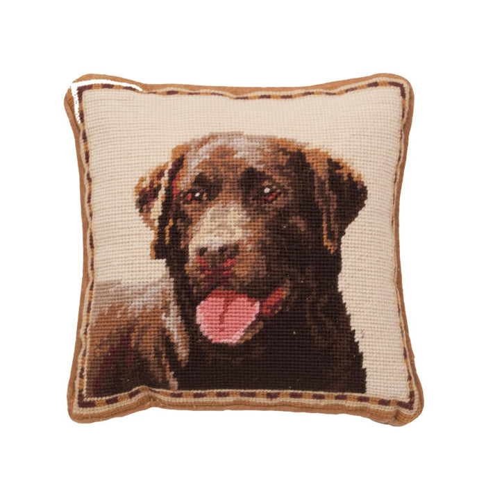 Chocolate Labrador Needlepoint Dog Pillow