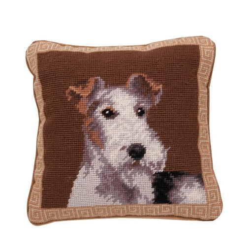 Fox Terrier Needlepoint Dog Pillow