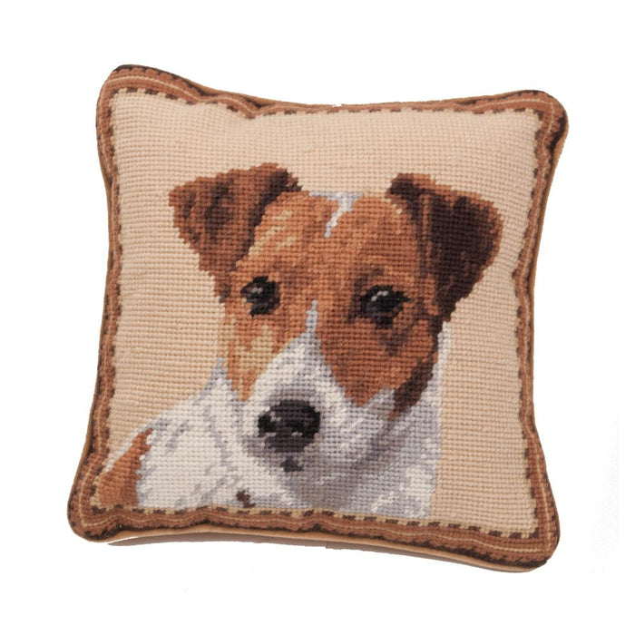 Jack Russell Terrier Needlepoint Dog Pillow