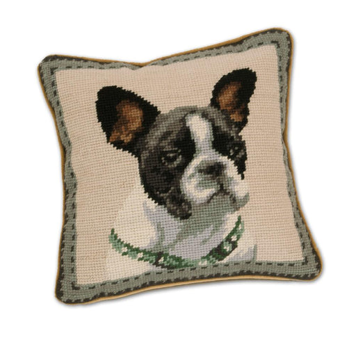 Boston Terrier Needlepoint Dog Pillow