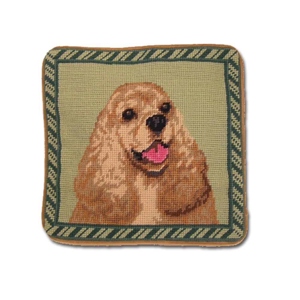 Cocker Spaniel Needlepoint Dog Pillow