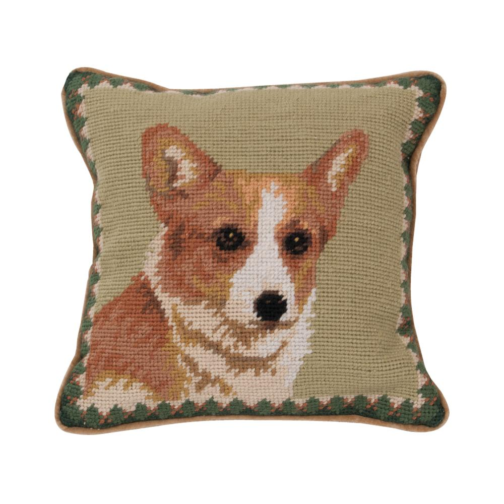 Sable Corgi Needlepoint Dog Pillow